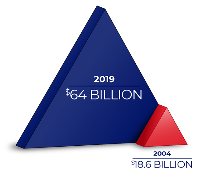 A small triangle imposed on a larger triangle. The smaller reads, '2004: $18.6 Billion,' and the larger triangle reads, '2019: $64 Billion'